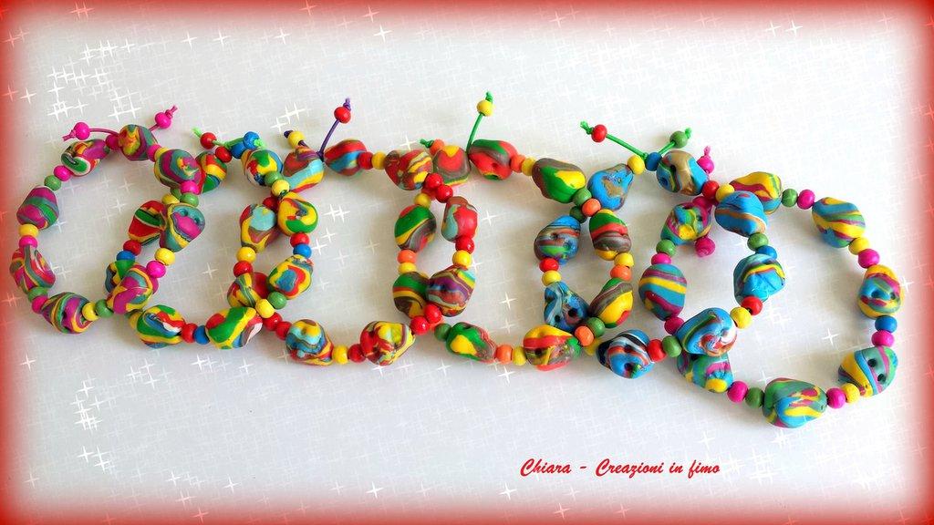 Bracciali in fimo con teschi colorati handmade kawaii halloween personalizzabile