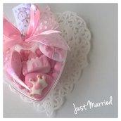 Confetta Nascita, Battesimo, cuore in plexiglas, confetti decorati, bimba