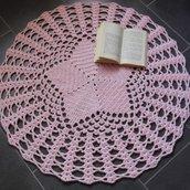 Tappeto shabby chic, tappeto rosa antico fatto a mano, tappeto rotondo ad uncinetto, tappeto da salone, tappeto di lana, regalo di.nozze