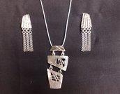 parure pendente e orecchini in argento