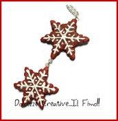Natale in Dolcezze -  Collana Biscotti con fiocco di neve rossi -  handmade, kawaii, idea regalo