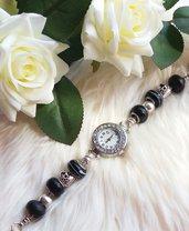 Orologio con perle a foro largo - Nero