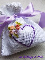 Bomboniera Sacchettino Cotone Bianco con ricamo punto croce, matrimonio, nascita, comunione, cresima