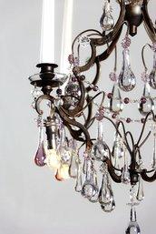 Gocce, ricambi per lampadari con pezzi rotti, come Venini, Mazzega, Artemide, Maria Teresa, in vetro soffiato di Murano, color trasparente e rosa