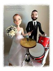 Cake topper sposi con batteria