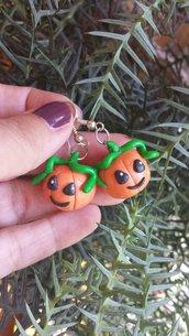 Orecchini in fimo handmade zucche idee regalo halloween