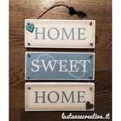 Targhetta in legno HOME SWEET HOME