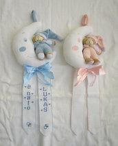 """Fiocco nascita """"Luna o con orsetto""""rosa +nome punto croce"""