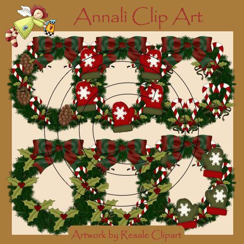 Clip Art per Decoupage e Scrapbooking - Corone Natalizie - Christmas - IMMAGINI