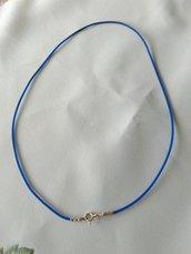 1 cordino in caucciù  e chiusura in argento 925, 39 cm, BLU