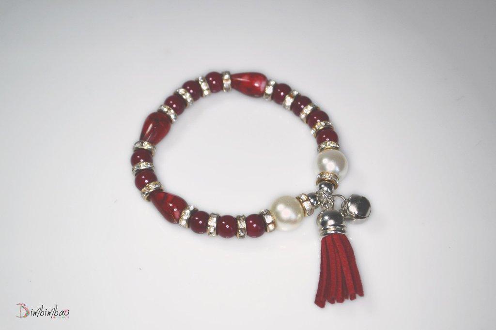 bracciale donna bigiotteria perla accessori moda ciondolo campanella natale bracelet pendente