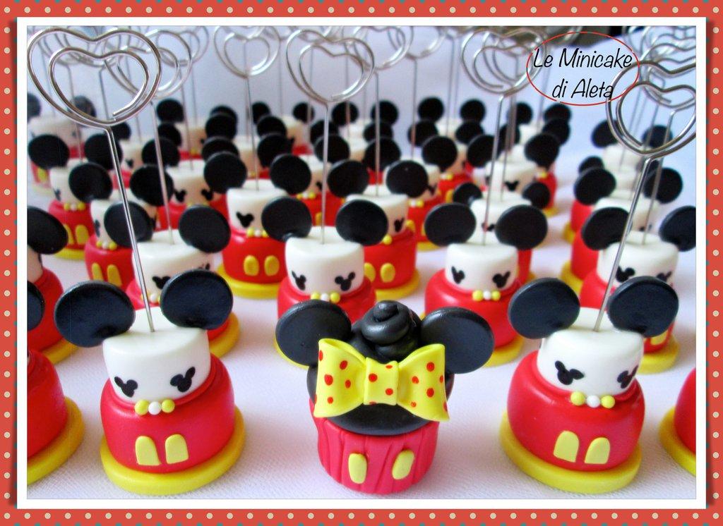 Minicake in pasta di mais tema Topolino per il compleanno