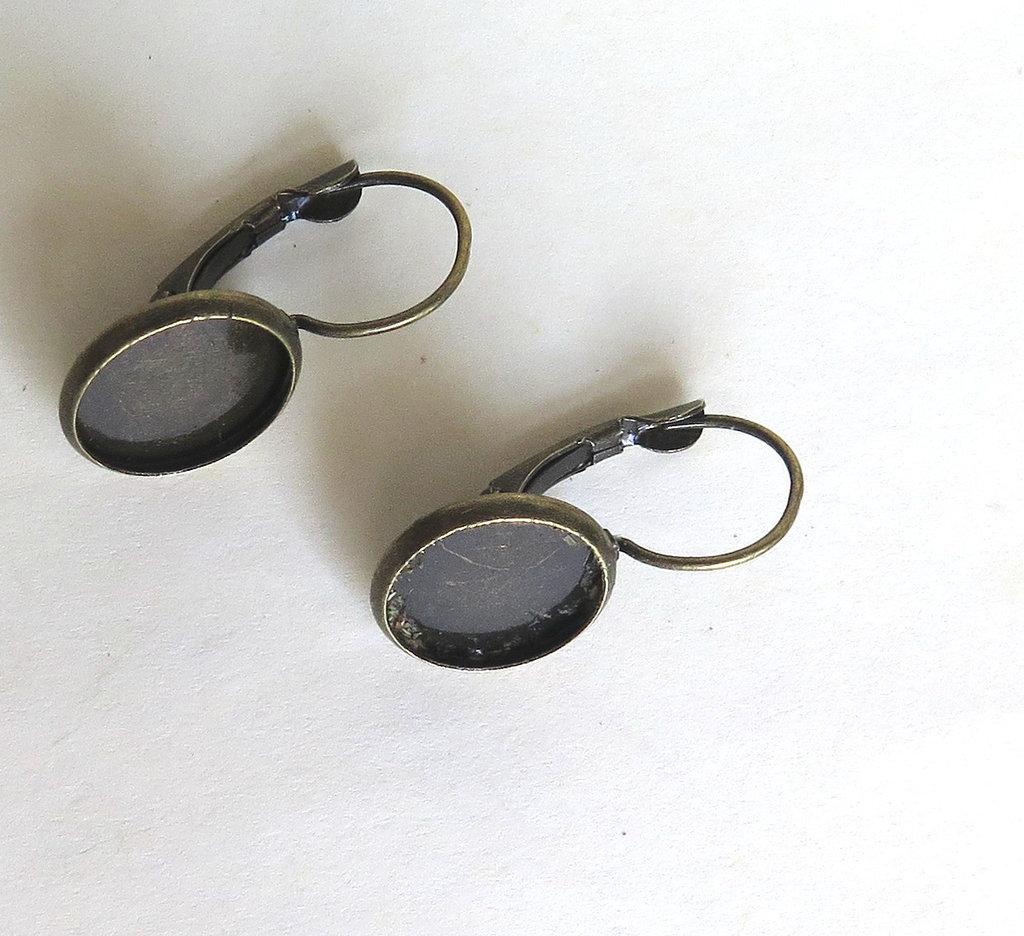 2 Setting cabochon ( 12 mm ) per orecchini in bronzo  FER 123