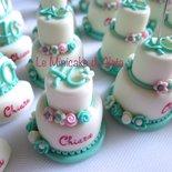 Minicake 40 anni in pasta di mais colore tiffany bianco e rosa