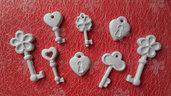 Gessetti profumati chiavi, lucchetti segnaposto, bomboniere, chiudipacco per ogni evento