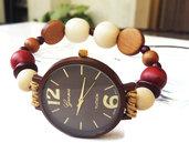 Orolologio da polso bracciale elastico con perle di legno marrone Regalo donna