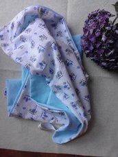 Copertina carrozzina bambino azzurra con coniglietti blu