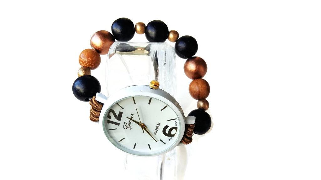 Orologio bracciale bianco donna elastico con perle di legno colorati nero bronzo oro Regalo di Natale per donna