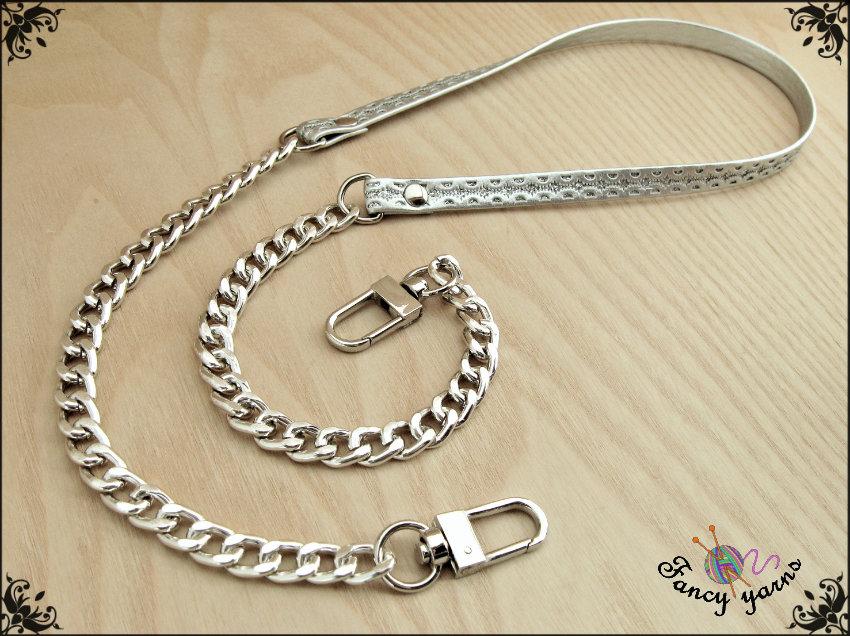 Tracolla per borsa lunga cm. 115 in similpelle argento con glitter, catena e moschettoni argento