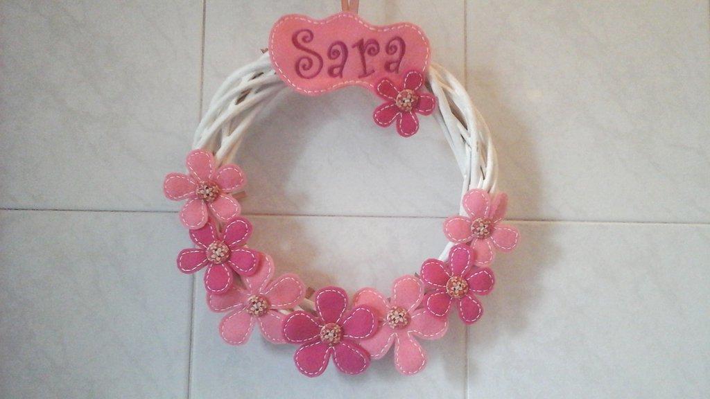 Fiocco nascita, fuori portain vimini per annuncio lieto evento, per bimba in rosa e fucsia
