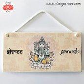 "Targhetta in legno ""Shree Ganesh"""