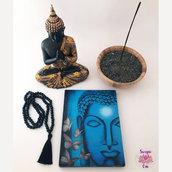 Targhetta in legno Buddha - blu