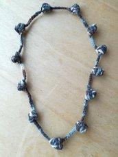 Collana casual uncinetto,  collana multicolore con sfumature blu, collana invernale, collana di lana, regalo per lei, collana artigianale