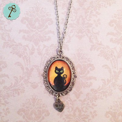 Catenina con ciondolo gatto nero tramonto