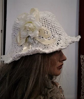 cappello di raffia 100% naturale all'uncinetto