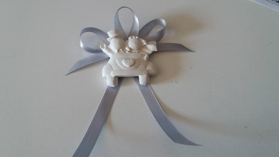 abbastanza Bomboniera segnaposto anniversario 25 anni matrimonio sposi in  XP45