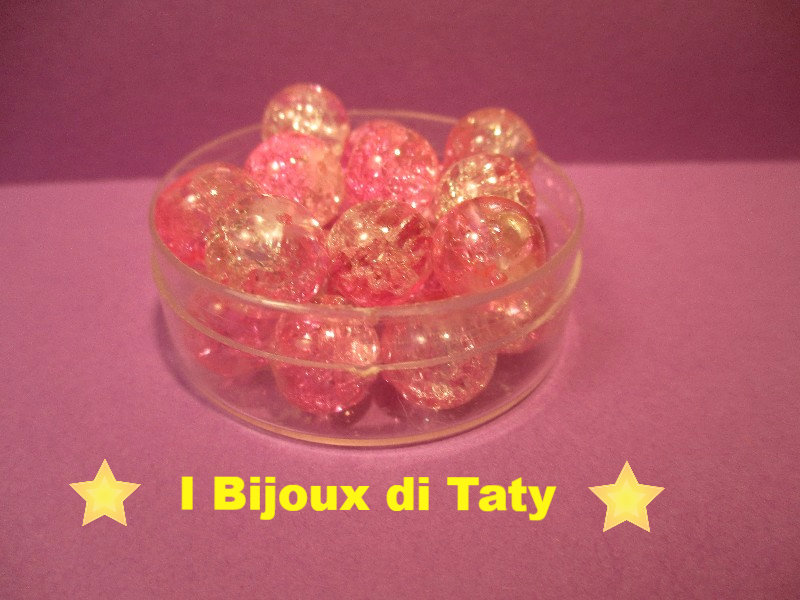 Perle in vetro Rosa e Trasparente da 9mm