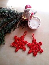 10 decorazioni albero di Natale all'uncinetto cotone rosso e oro - stelle - segnaposti natalizi - ferma pacchetti - regali