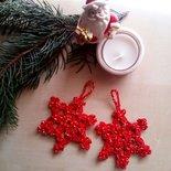 Set decorazioni di Natale all'uncinetto cotone rosso e oro - stelle - decorazioni albero di Natale - ferma pacchetti - regali