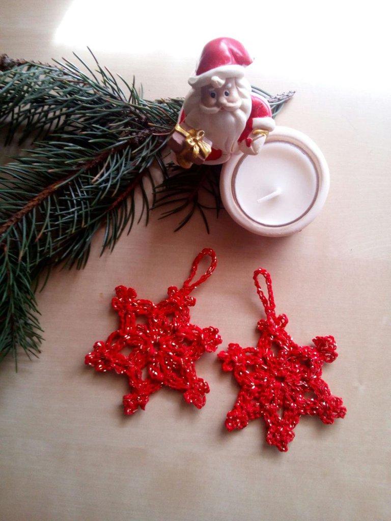 Regali Di Natale Alluncinetto.10 Decorazioni Albero Di Natale All Uncinetto Cotone Rosso E Oro Stelle Segnaposti Natalizi Ferma Pacchetti Regali