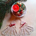 Set addobbi decorazioni di Natale fatte a mano a uncinetto  angeli - ferma pacchetti regali -  beige e oro - tavola segnaposti decorazioni casa