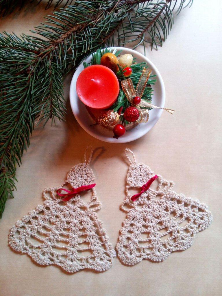 Regali Di Natale Fai Da Te Uncinetto.Set Addobbi Decorazioni Di Natale Fatte A Mano A Uncinetto Angeli
