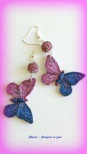 Orecchini in resina handmade farfalle glitterate bordeaux blu idea regalo per lei, regalo compleanno, Natale