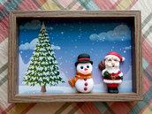 Quadretto-cornicetta con Babbo e pupazzo di neve fimo