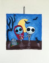Quadretto Halloween Jack e Sally - 33x33 cm in pannolenci