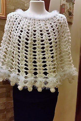 mantella/scialle di lana all'uncinetto