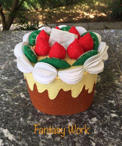 scatola di feltro porta box per fazzoletti di carta a forma di torta con fragole, kiwi e panna