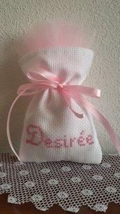 "Inserzione riservata n.80 sacchettini tela aida bianca ""Desirée"""