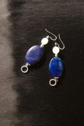 Orecchini pendenti ovali blu