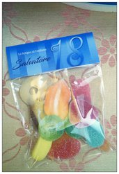 Bomboniera gadget caramelle/marshmallow/confetti
