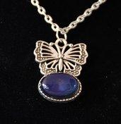 Collana ciondolo cambiacolore o dell'umore e farfalla,in omaggio ciondolo segno zodiacale o iniziale