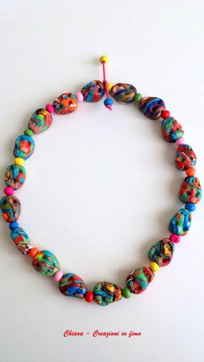38c642322b Multicolore In E Perline Legno Girocollo Con Collana Teschi Fimo HC4wxqt