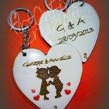 2 Portachiavi cuore in legno con incisione personalizzata