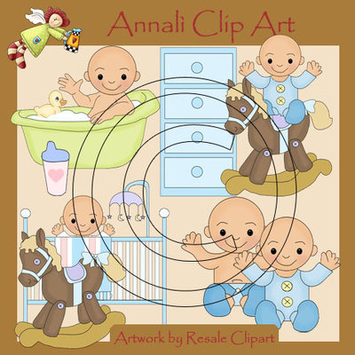 Clip Art per Scrapbooking e Decoupage - Nursery Azzurra - IMMAGINI