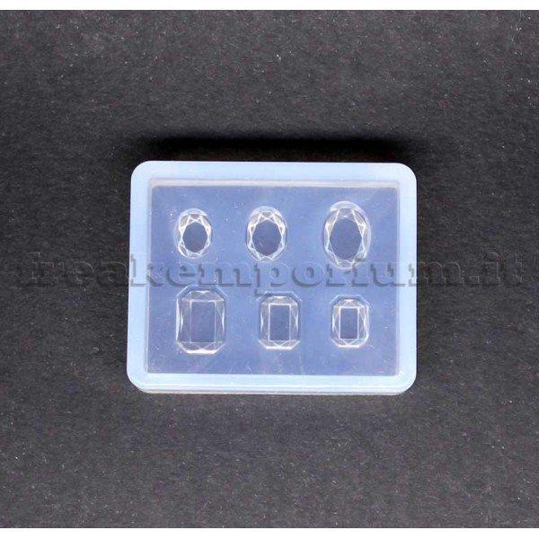 Stampo in silicone gemme OVALI e RETTANGOLARI per resina