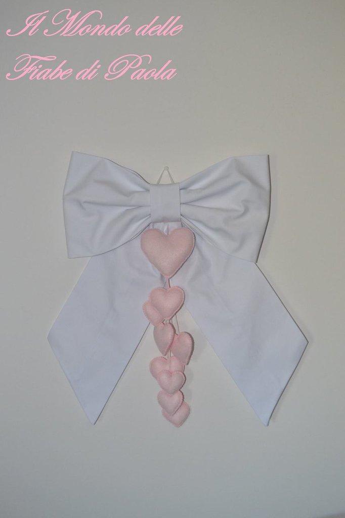 Fiocco nascita bianco con cuori rosa baby